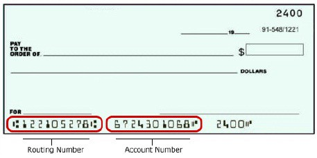 Bank routing number and checking account number
