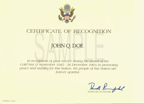 How to Get a Cold War Recognition Certificate - Tutorial & Links