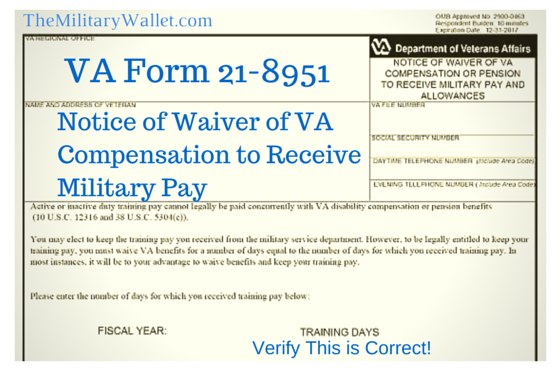VA Form 21-8951 - Waive VA Compensation to Receive Military Pay
