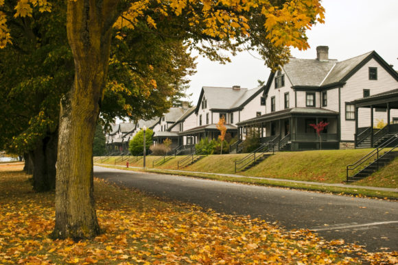 Old houses in the fall